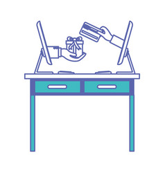 Desk table with drawers front view and desktop vector