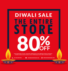 diwali season sale banner discount and deals with vector image