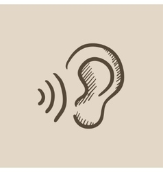 Ear and sound waves sketch icon vector image