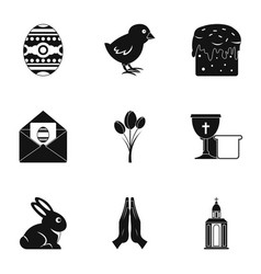 Easter day icon set simple style vector