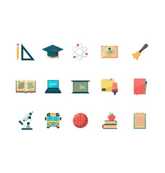 education flat icon school learning college books vector image