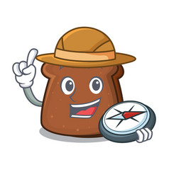 Explorer brown bread mascot cartoon vector