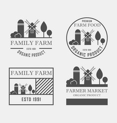 farm house concept logo set template with farm vector image