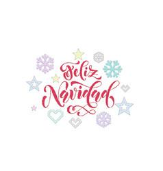 Feliz navidad spanish merry christmas knitted vector