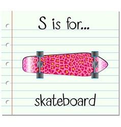 Flashcard letter S is for skateboard vector