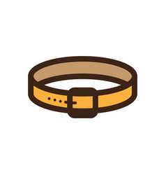 flat color dog collar icon vector image