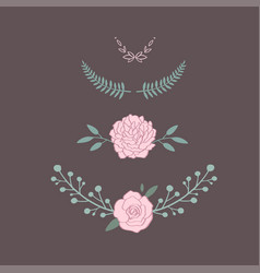 floral bouquet with rose peony anemone vector image