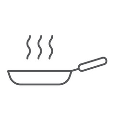 frying pan thin line icon kitchen and cooking vector image