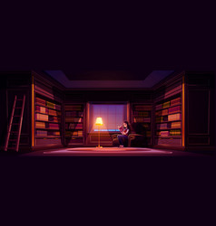 Girl reads book in old luxury library at night vector
