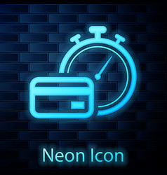 Glowing neon fast payments icon isolated on brick vector