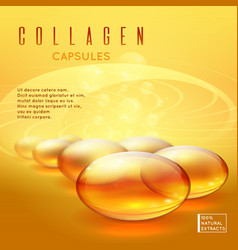 Gold pill vitamins gold gel collagen capsule vector