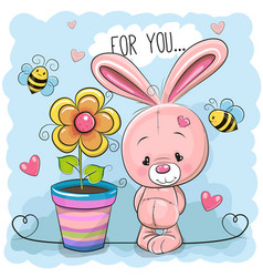 Greeting card cute cartoon rabbit with flower vector