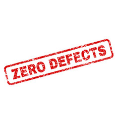 Grunge zero defects rounded rectangle stamp vector
