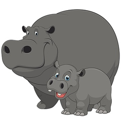 Hippo with cub vector