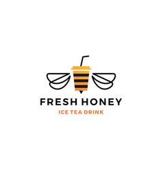 Honey ice tea cup bubble drink logo icon label vector