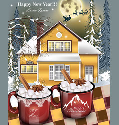 hot drinks red mugs a yellow house facade vector image