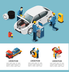 Isometric car service composition vector