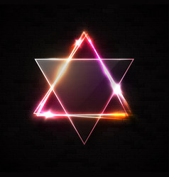 Jewish david star design on black brick wall vector