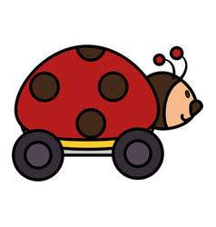 ladybug with wheels icon vector image