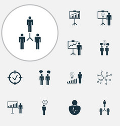 management icons set with project goals vector image