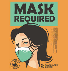 Mask required warning sign vector
