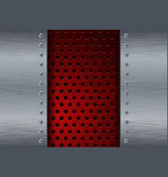 metal background with red perforation vector image