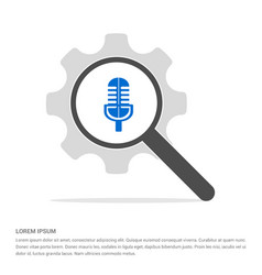 microphone icon search glass with gear symbol vector image