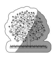 Monochrome silhouette sticker of tree with leaves vector