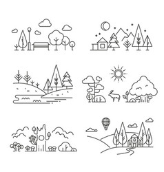 nature landscape outline icons with tree plants vector image
