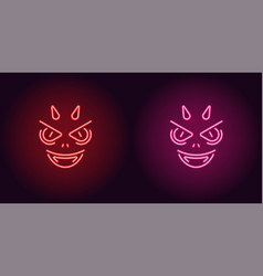 neon devil in red and pink color vector image