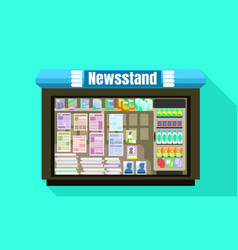 Newsstand glass window icon flat style vector