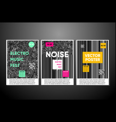 noise posters set with background vector image