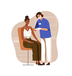nurse vaccinating black-skinned woman with anti vector image