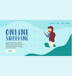 online shopping girl additional reality glasses vector image
