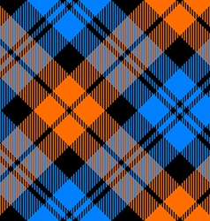 orange and blue tartan diagonal seamless pattern vector image