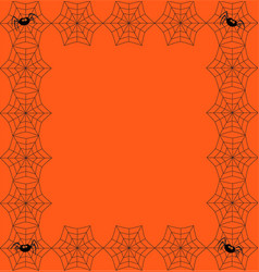 orange background framed with the spider web and vector image