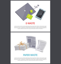 Paper and e-waste isolated on white color cards vector