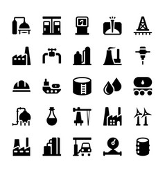 Petroleum industry icons set vector