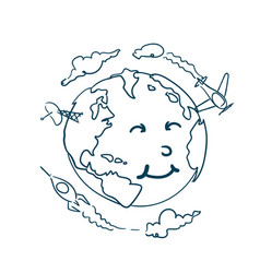 planet doodle with cute cartoon face on white vector image