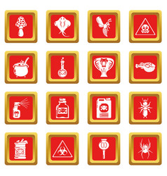 Poison danger toxic icons set red square vector