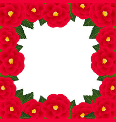 red camellia flower frame border vector image
