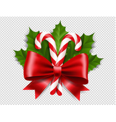 Red ribbon bow with holly berry leaf with vector