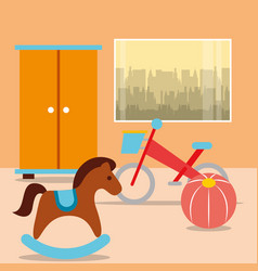 Rocking horse bike ball with closet in room vector