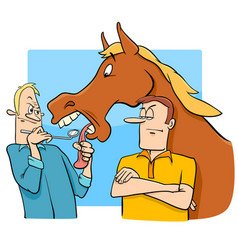 Saying looking a gift horse in the mouth cartoon vector