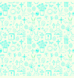 Seamless pattern with blue easter doodle sketches vector
