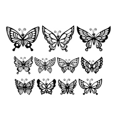 set silhouette wonderful butterflies vector image