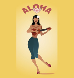 sexy and tattooed pin-up girl playing ukelele vector image
