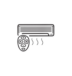 smart air conditioner hand drawn outline doodle vector image