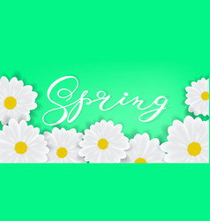 spring background with hand writening lettering vector image