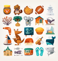 Stickers with sights and famous elements vector